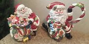 Fitz And Floyd Holiday Christmas Sugar Plum Santa Pitcher And Candy Dish