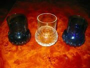 Kosta Boda Cosmos Tumbler Or Bud Vase 4 Inch H/w- Clear And Blue 3 Pc Purch 234