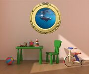 24 Porthole Sea Window View Dolphin 1 Brass Wall Decal Graphic Art Sticker New