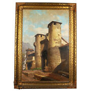 Untitled Building W/ Two Towers By Amalio Fernandez Signed 1924 Oil Painting