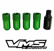Vms Racing 20pc 42mm Premium Hex Tuner Wheel Lug Nuts 12x1.25 Green For Nissan