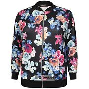 Ladies Womens New Floral Casual Bomber Jacket Plus Size 14 16 18 20 22 24 26 28