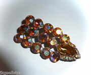 Anitique/vintage Fiery Aurora Borealis And Amber Navette Rhinestone 2 Pin/brooch