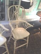 Fabulous Set Of Three Windsor Counter/bar Arm Chairs Painted Light Yellow