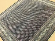 7'.7 X 8'.0 Square Blue Ivory Geometric Oriental Rug Hand Knotted Wool Foyer
