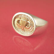 Jump Wings Airborne Paratrooper Ring - 14k And Sterling