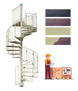Spiral Staircase Mod. Thor - Galvanized And Painted - Modular Kit - Uk