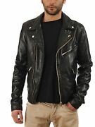 New Menand039s Leather Jacket Black Slim Fit Motorcycle Real Lambskin Jacket 816