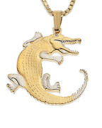 Crocodile Pendant And Necklace, Hand Cut Coin From Gambia, 1 In Dia.,  878