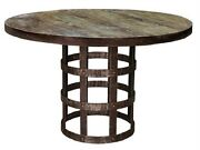 48 X 30 Hand Crafted Forged Iron Round Table Solid Wood Top Distressed Finish