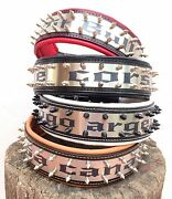 Personalized 2.5 Inch Wide Dog Collar. Stainless Steel Writing. M To Xxl Size