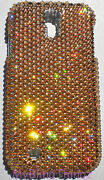 Gold Crystal Rhinestone Bling Back Case For Galaxy S4 Made W/ Elements