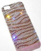 Gold Zebra Crystal Bling Back Case For Iphone 5 5s Made With Elements
