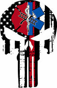 Thin Red Line Punisher Decal - Maltese Cross Ems Star Decal - Various Sizes