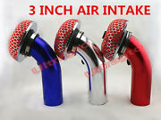 Universal 3 Inch Piping Turbo Short Ram Cold Air Intake Pipe Kit And Filter Brsr