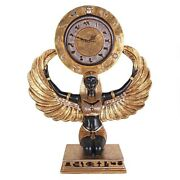 Egyptian Goddess Isis Grand-scale Clock Statue With Real Gold And Silver Leaf
