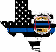 Thin Blue Line Decal - State Of Texas Police Officer Badge Decal - Various Sizes