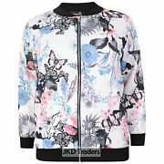 Ladies Womens Floral Butterfly Bomber Jacket Plus Size 14 16 18 20 22 24 26 28