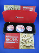 2012 Year Of The Dragon Silver Proof Set, 2 Oz, 1 0z, 1/2 Oz. Nice