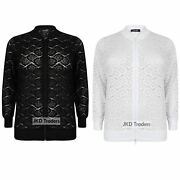Ladies Womens New Floral Lace Bomber Jacket Plus Size 14 16 18 20 22 24 26 28