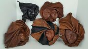 5 Vintage Hand Made Dominican Caribbean Molded Leather Faces Turban Wrapped