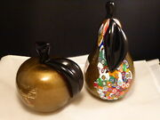 Vetro Artistico Murano Art Glass Pear And Apple Paperweights Signed Fruit Set 2