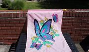 Lovely Butterfly Flag With Wooden Flag Pole