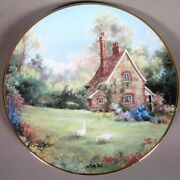 Marty Bells The Gameskeeper Cottage Collectors Plate Rimmed W/23kt Yellow Gold