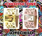 Ed Hardy Love Child White Or Pink Leather Watch W/ Serial New
