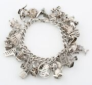 Sterling Silver Chinese New Year Charm Bracelet W/ 32 Total Charms 7 106.5 G