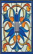 Light Switch Plate Outlet Covers Stained Glass Look Orchid Trefoil
