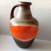 Extra Large Mid Century Modern Orange And Brown Fat Lava Pottery Floor Vase