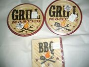 Grill Master Barbecue / Cookout Theme -snack Plates And Napkins New
