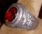 Beautiful Wwii Us Coast Guard Uscg Sterling Silver Ring With Red Stone