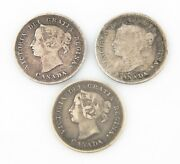 Canada 5 Cents Silver Coins Lot 3 1899 Vf+ 1894 Vg+ 1886 Vf 5c 5andcent Km2