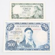 1954 Spain Peseta Notes Lot 2 5 ₧ Xf+ P146a 500 ₧ Vf P148a Banco De Espana