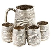 Repousse Silver Water Pitcher And 4 Cups