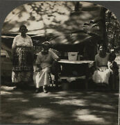 Stereoview Gypsy Camp Women In Front Of Tent. Rare Amature View.
