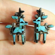 Fine 1940s American Indian Deer Inlay Turquoise Earrings Exceptional 925
