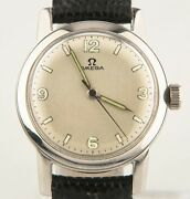 Vintage Omega Andomega Stainless Steel Menand039s Hand-winding Watch W/ Leather Strap C 1947