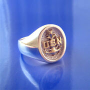 U. S. Navy Senior Chief Petty Officer's Scpo Sterling Silver And 14k Gold