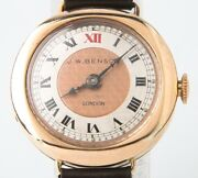 Vintage Jw Benson Womenand039s 9 Kt Rose Gold Hunter Hand-winding Watch Leather Band