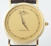 Menand039s Vintage Andphi Baume And Mercier 14k Yellow Gold Quartz Watch Black Leather Band