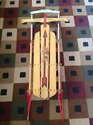 Vintage Snow Winter Flexible Flyer Wood And Metal Sled Model F048
