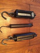 Antique Cast Iron Hanging Scales Lot Of 3
