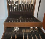 Lg Set Of Old Company Plate Silver Flatware In Tiered Wooden Lined Case, Vintage