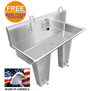 Hand Sink 2 Station 48 Single Pedal Valve Hands Free Stainless Stl. Made In Usa