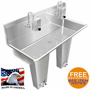 Industrial Hand Sink Stainless S. 2 Users 42 Pedal Valve Hands Free Made In Usa