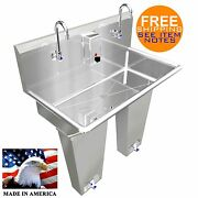 Hand Sink 2 Person Multistation 36 Single Pedal Valve Stainless St. Made In Usa