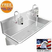 Wash Up Hand Sink 2 Users Multistation 48 Elec Faucet Made In Usa Stainless St.
